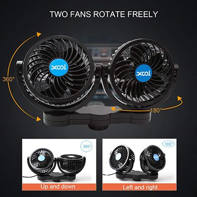 Auto Car Vehicle Air Fan 12V Electric Fan Cage Design No Rotation Mini Adjustable Speed Silent Portable for Cars S-UV AT-V