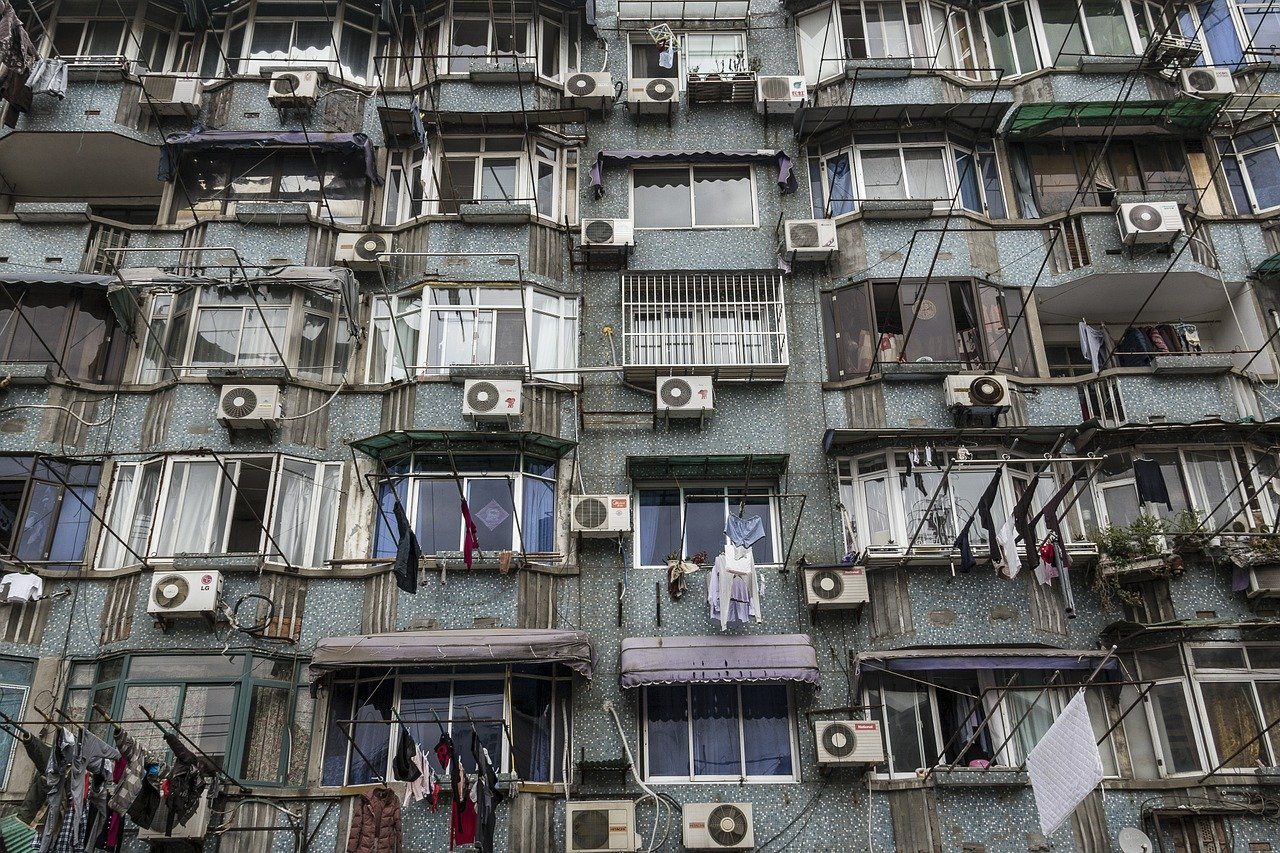 Building with Several Mini Split AC Units in China
