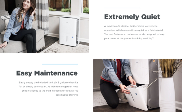 Quiet and Easily Maintenance Dehumidifier